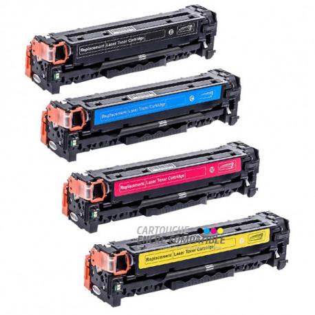 Pack de 4 Toners Laser Compatibles HP CC530A-CC531A-CC532A-CC533A - 304A