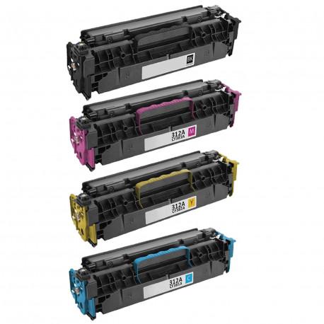 Pack de 4 Toners Laser Compatibles HP CF380X-CF381A-CF382A-CF383A - 312A