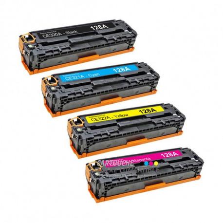 Pack de 4 Toners Laser Compatibles HP CE320A-CE321A-CE322A-CE323A