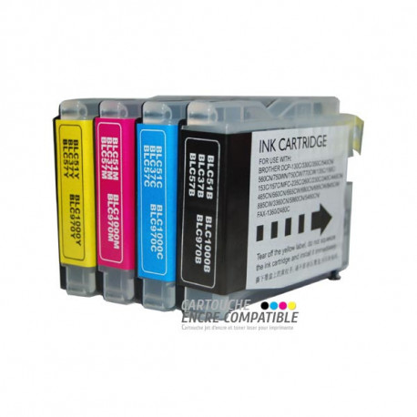 Pack de 4 Cartouches D'encre Compatibles Brother LC970-1000