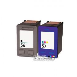 Pack de 2 Cartouches D'encre Compatibles HP 56-57XL
