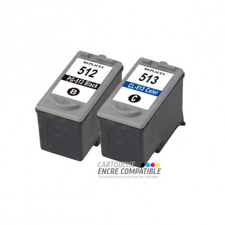Pack de 2 Cartouches D'encre Remanufacturées PG-512 CL-513